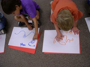 Children following line maps